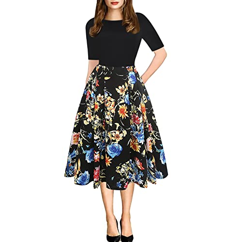 0bc1be985bb8 oxiuly Women's Vintage Patchwork Pockets Puffy Swing Casual Party Dress  OX165