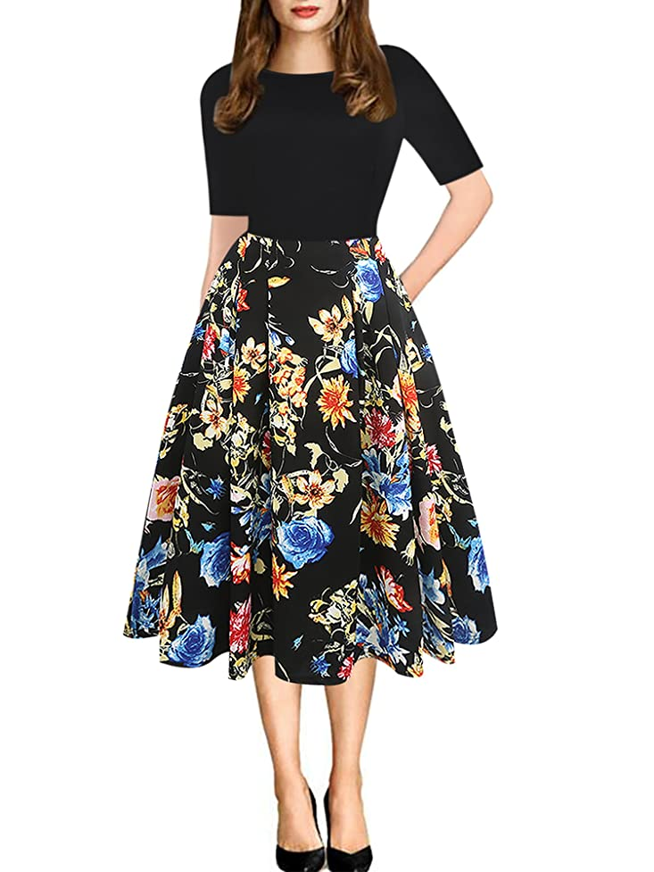 oxiuly Women's Vintage Patchwork Pockets Puffy Swing Casual Party Dress OX165 pwb050716683077