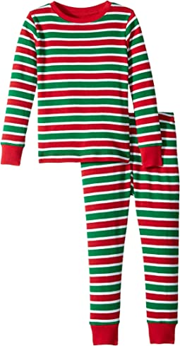 Holiday Stripe Organic Cotton Pajama Set (Toddler/Little Kids/Big Kids)