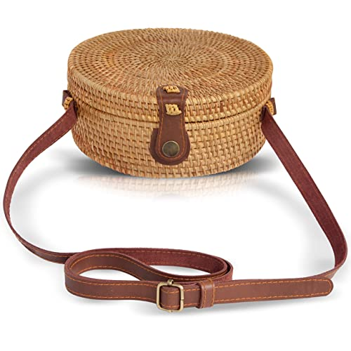 Boho Chic Rattan Ata Round Crossbody Bag with Genuine Leather Adjustable Strap for Women by la