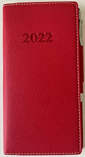 $44 » 2022 Italian Bonded Leather Classique Rose Red Weekly Pocket Planner Engagement Calendar With Pen