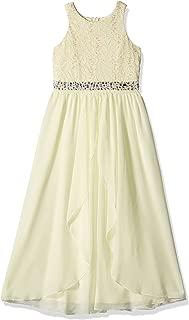 Girls' Big Neck Glitter Lace High Low Maxi Dress