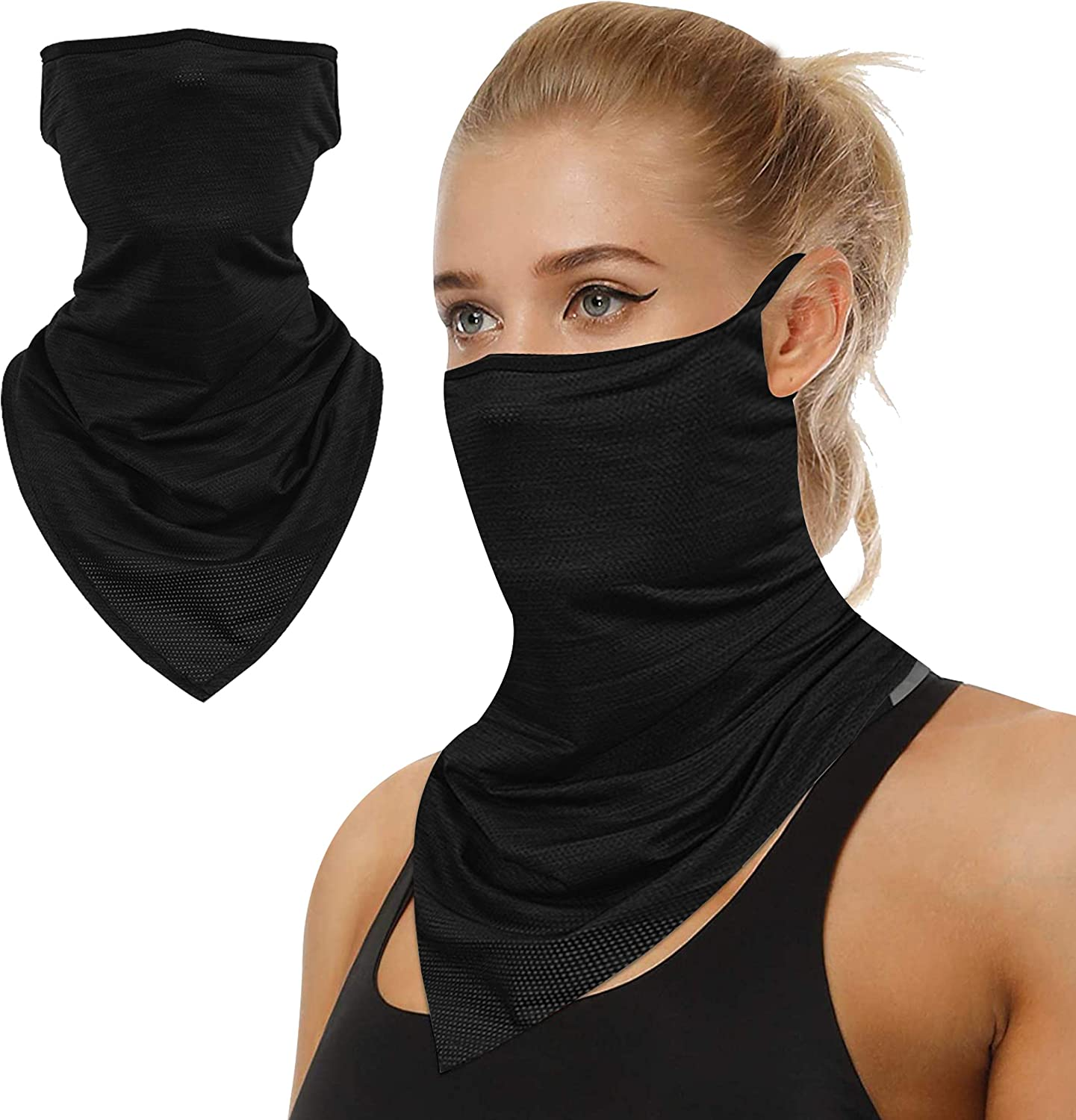 Bandanas for Women Men, Washable Cloth Neck Gaiters Cool Face Scarf Rave Covers with Ear Loops 1 Pice