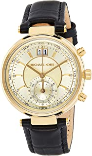 Michael Kors Womens Quartz Watch, Analog Display and Leather Strap MK2433