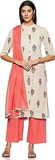 Appirant Women's Cotton Straight Kurta, Palazzo and Dupatta Set (Peach)