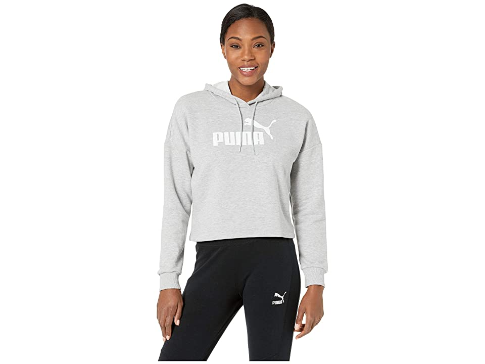 PUMA Essential + Logo Hoodie (Light Gray Heather/Puma White) Women