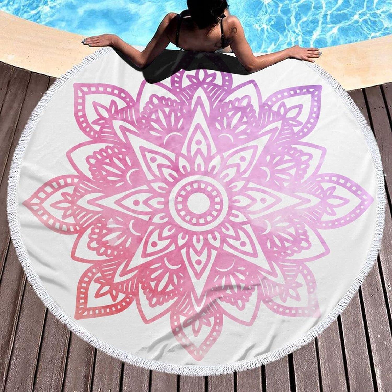 Time sale Bohemian Pinkmicrofiber Round Large Plush Towel Beach Blanket depot 6