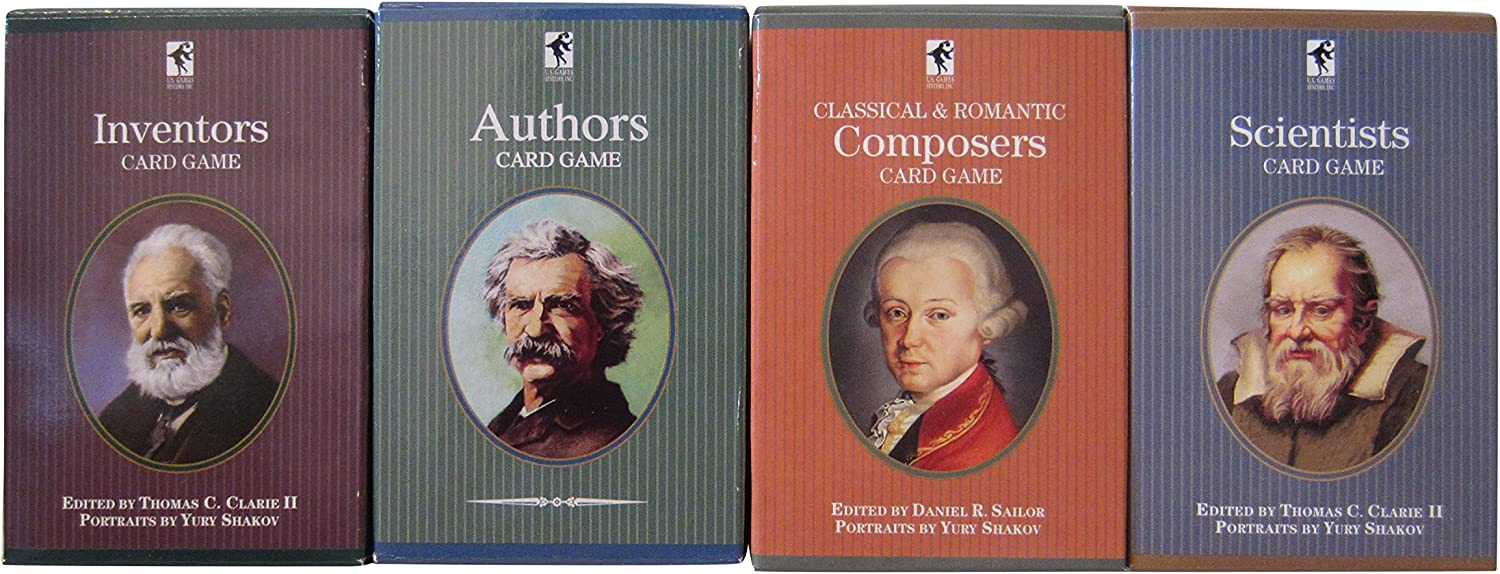Educational Playing Card Games Bundle  4 Items (1 of each)  Inventors Card Game, Composers Card Game, Scientists Card Game, & Authors Card Game