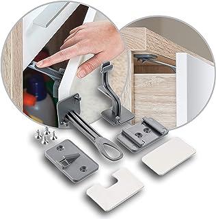 Reer Schrank-Sicherung und Schubladen-Sicherung DesignLine 2 Stück, zum kleben oder schrauben, unsichtbar, vom schwäbischen Kindersicherheitsexperten, anthrazit, 71011