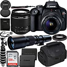 $379 » Canon EOS Rebel T100 DSLR Camera with EF-S 18-55mm f/3.5-5.6 III Lens & 500mm Preset Lens Beginner Bundle - Includes: SanDisk Ultra 128GB SD Memory Card, Extended Life LPE10 Replacement Battery & MORE