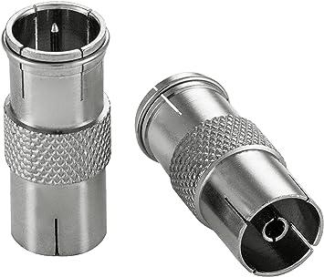 Poppstar 2X Adaptadores coaxiales para Cable de Antena (Conector F rápido Macho a Conector CEI Hembra), Acoplamiento coaxial, Plateados