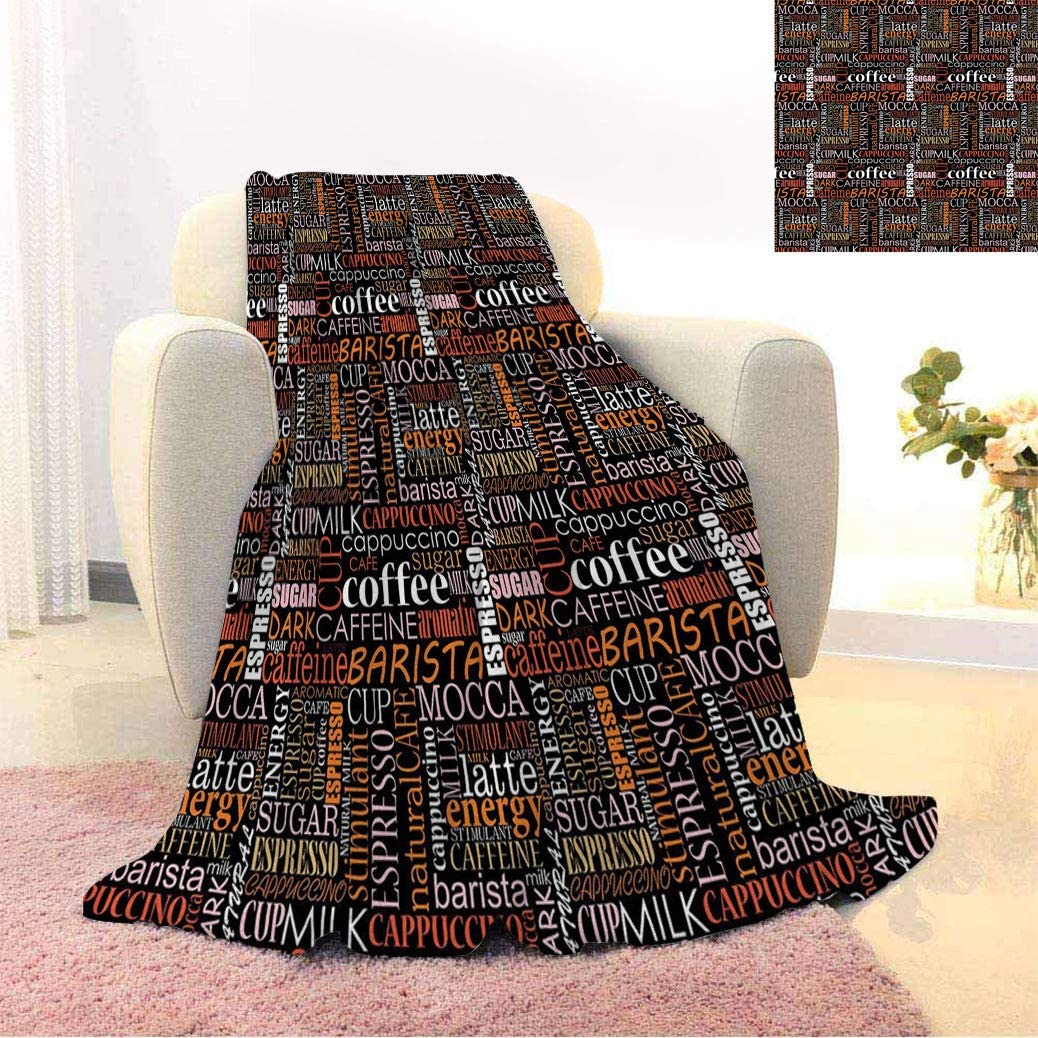 Cheap mail order sales Coffee Warm Print Blankets Typography Colorful Tulsa Mall Verti Collection