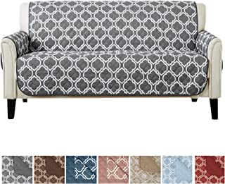 Home Fashion Designs Reversible Sofa Cover for Living Room. Oversized, Couch Furniture Protector with Secure Straps. Couch Cover for Dogs, Protect from Kids and Pets. (Sofa, Charcoal)