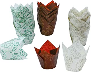 Resinta 150 Pieces Tulip Baking Cups Cupcake Muffin Liners Wrappers for Parties Weddings Anniversaries in 3 Patterns