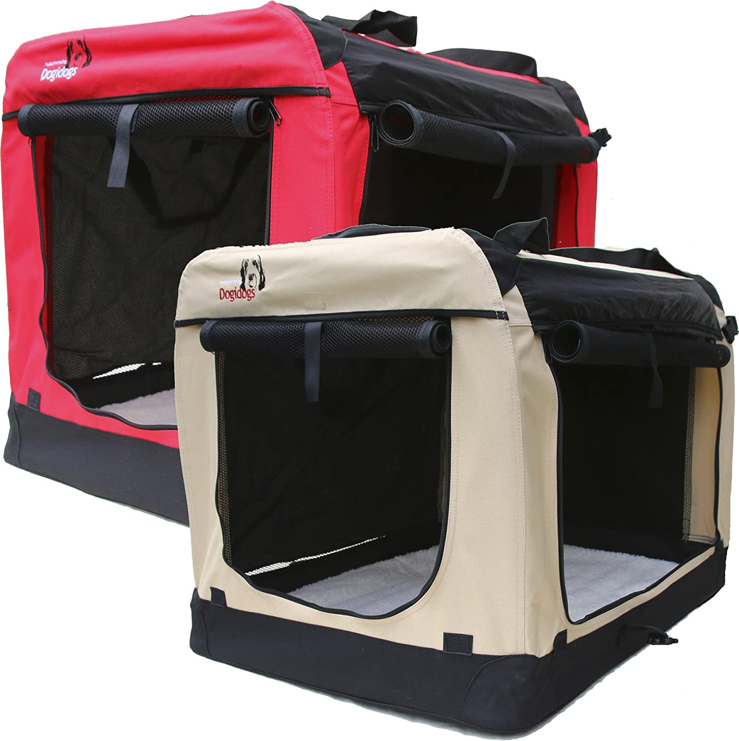 Dog transport box, foldable, dog kennel, 6 sizes, red or beige