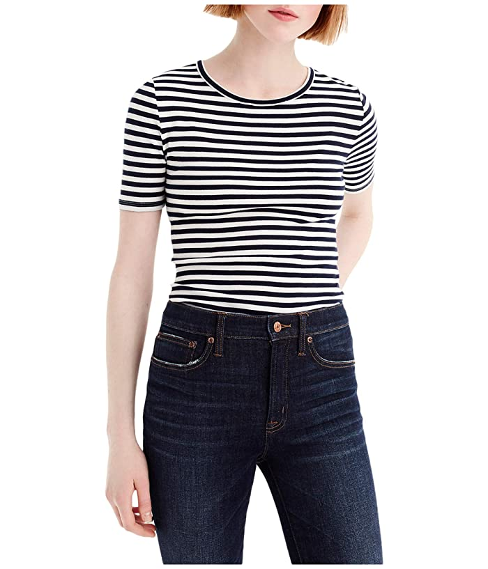 Women's 70s Shirts, Blouses, Hippie Tops J.Crew Slim Perfect T-Shirt in Stripe NavyIvory Womens Clothing $33.20 AT vintagedancer.com