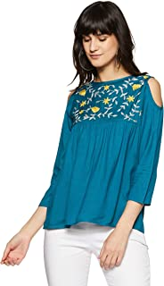 Styleville.in Women's Plain Flared Fit Top