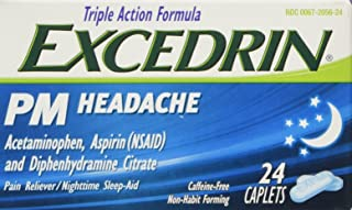 Excedrin PM Caffeine-Free Caplets for Headache Pain Relief and Nighttime Sleep-Aid, 24 Count