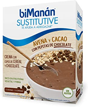BiManán - Crema Sustitutiva de Avena con Cacao y Pepitas de Chocolate, para ayudarte a controlar tu peso - Caja de 5 unidades