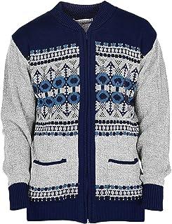 Mens Classic Style Cardigan Argyle Diamond Pattern & Plain Casual Design Zip Up Thick Knit Warm Winter Grandad Sweater Kni...