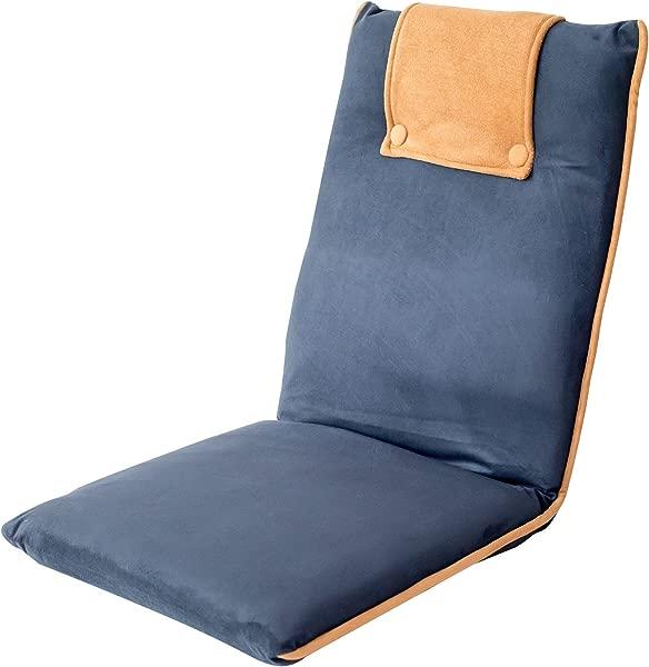 BonVIVO Easy II 软垫地板椅子,可调节靠背,舒适的半折叠式折叠椅,用于冥想,体育场露天看台,阅读床,沙发或游戏,优雅的设计,蓝色米色