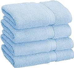 مجموعة مناشف حمام ناعمة من سوبريور، 4 قطع يد، أزرق فاتح، 4 قطع