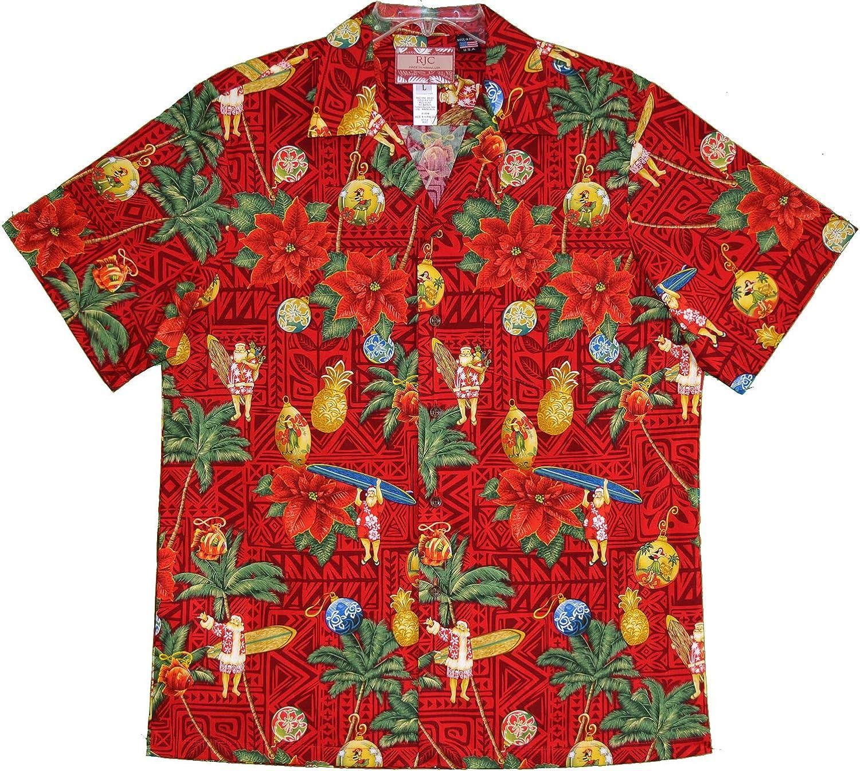 RJC Trust Men's supreme Christmas Tapa Shirt Santa Hawaiian