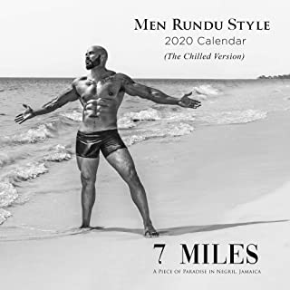 """2020 Rundu Nude Male Wall Calendar and Bonus DVD – Monthly, 12"""" x 12"""", Uncensored Photos of Paradise; Hot Nude Black Males"""