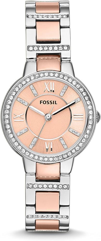 Fossil, orologio analogico al quarzo per donna,in acciaio inossidabile,lunetta con cristalli lucidi ES3405