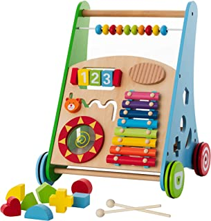 Baby Toys – Kids' Activity Toy – Wooden Push and Pull Learning Walker for Boys and Girls – Multiple Activities Center – As...