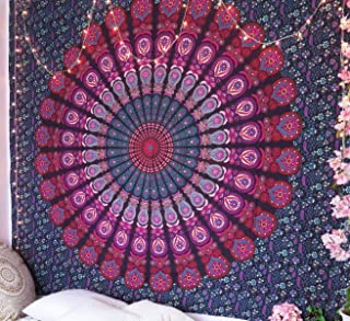 RSG Venture Large Pink & Purple Mandala Tapestry Indian Hippie Bohemian Psychedelic Peacock Mandala Wall Hanging Bedding Tapestry (Pink Purple, Queen(84x90Inches)(215x230Cms))