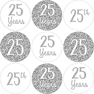 Silver 25th Anniversary Party Favor Labels - 180 Stickers