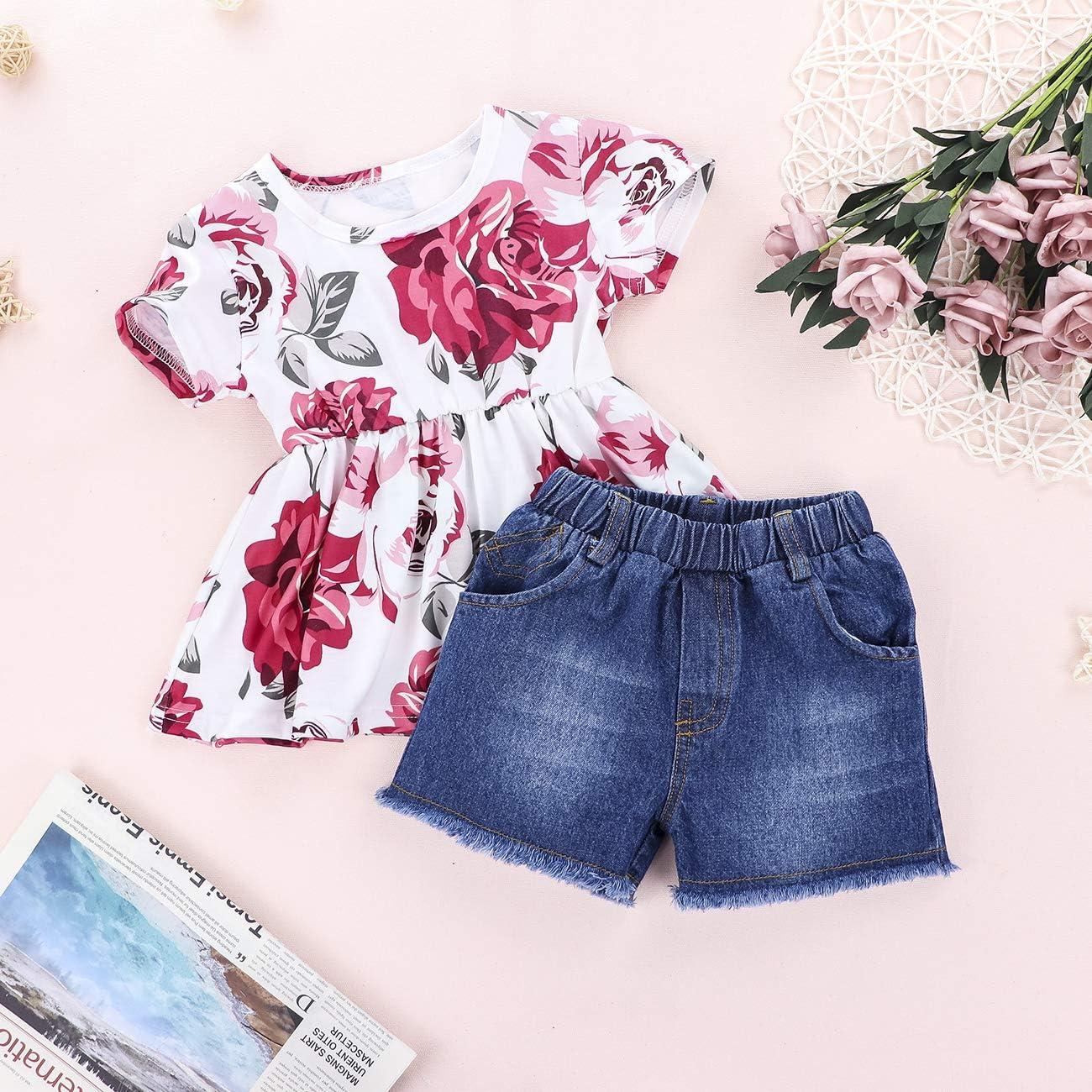 4th of July Toddler Baby girl clothes Outfit Sleeveless Short Sleeve + Shorts + Headband 3Pcs