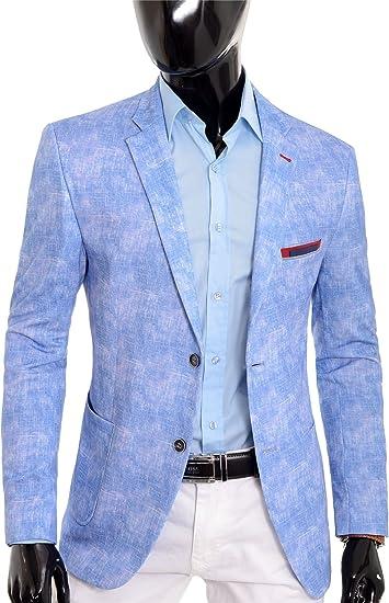 Hombre Blazer Azul Claro Chaqueta Casual Ajustado Verano ...