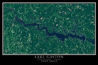 Terra Prints The Lake Gaston North Carolina - Virginia Satellite Poster Map L 24 x 36 inch