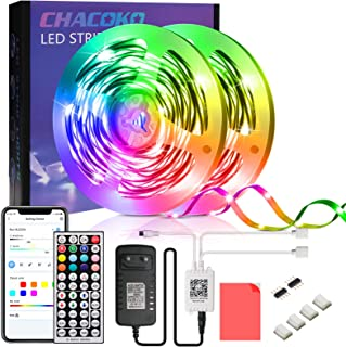 LED Strip 15M, CHACOKO 24V LED Streifen RGB 5050, Musik-Synchronisation, 16 Millionen Farben, Fernsteuerung von 44 Tasten,...