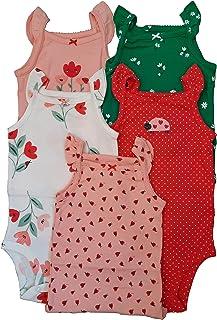 Kit Body Carter's 5 Peças Regata Babadinhos Joaninha Vermelho e Verde Bebê Menina (24M)