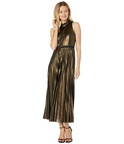 Donna Morgan Stretch Foil Pleated Skirt Halter Dress (Black/Gold) Women