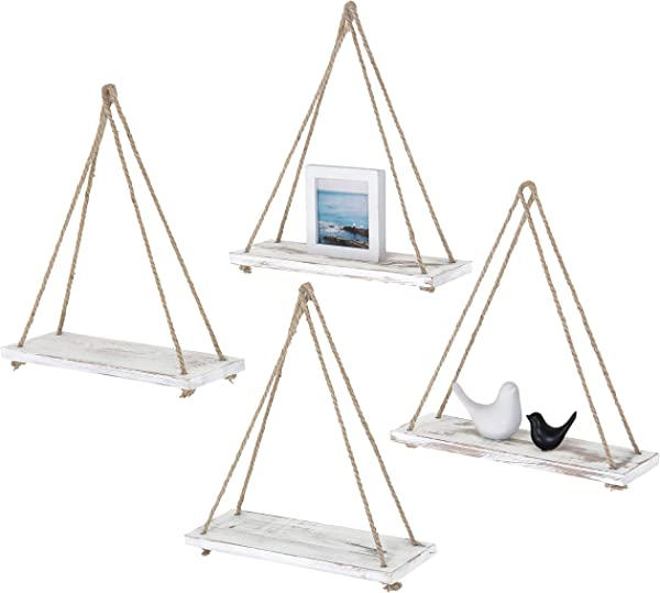 MyGift Set Of 4 Rustic Whitewashed Wood Rope Hanging Swing Wall Shelves