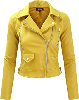 FASHION BOOMY Women's Faux Leather Jacket - Cropped Motorcycle Biker Coat with Buckle