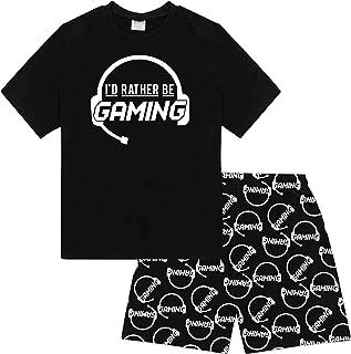 comprar comparacion Pijama corto de algodón negro con texto en inglés «I'd Rather Be Gaming»