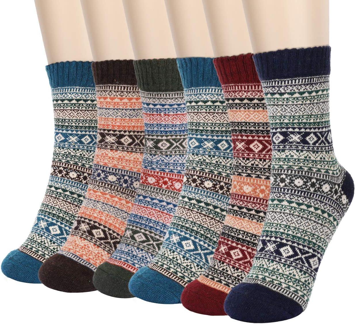 6 Pares de Calcetines Térmicos, Aiglam calcetines con dibujos, calcetines invierno gruesos suaves y transpirables para deportes de invierno al aire libre, regalo para hombres y mujeres