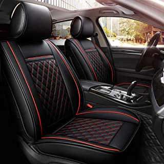 INCH EMPIRE Easy to Clean Car Seat Cushions Man-made Leather - Universal Fit Car Seat Cover for Corolla Cruze Legacy Malibu Maxima Tacoma(Black with Red Line Full Set)