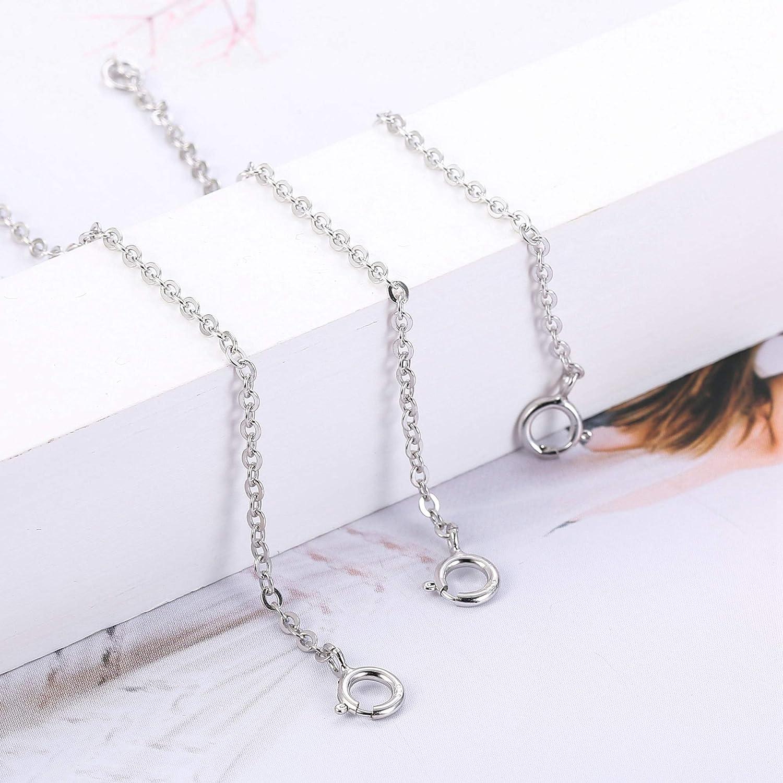 Sllaiss 3 Pi/èces Prolongateurs en Argent Sterling 925 Collier Pendentif Bracelet Bracelet de Cheville Prolongateurs de Cha/îne pour Collier Plaqu/é Or 14K Plaqu/é Or Rose 5cm 7,5cm 10cm
