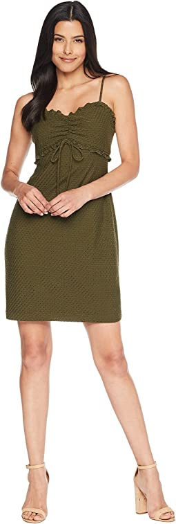 Dani - Sleeveless Ruched Eyelet Jersey Dress