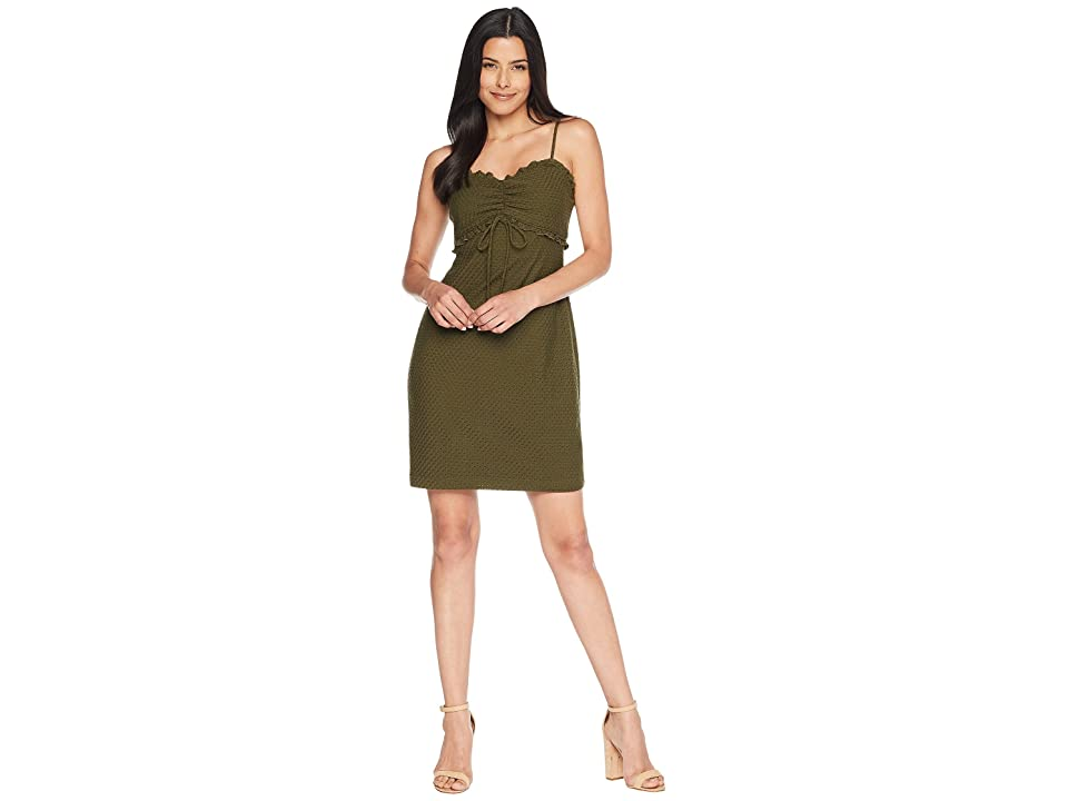 CeCe Dani Sleeveless Ruched Eyelet Jersey Dress (Palm Frond) Women