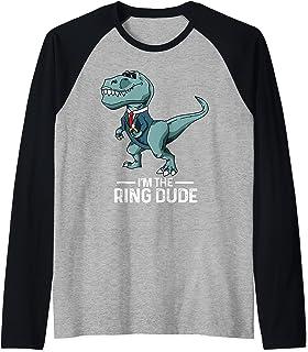 Tenue de cadeau de mariage dinosaure T-Rex porteur de bague Manche Raglan