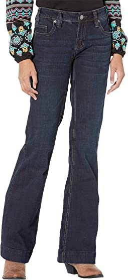 Mid-Rise Trousers and Clean Pocket in Dark Wash W8M6096