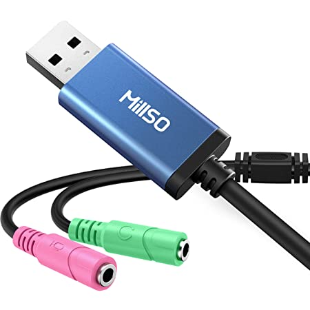 ヘッドセット usb 変換 MillSO usb オーディオ変換アダプタ 3.5mm ミニ ジャック ヘッドホン・マイク端子 外付け サウンドカード ドライバ不要 PS5 PS4 MacBook Mac Mini iMac Windows PCなどに対応 ブルー 30cm