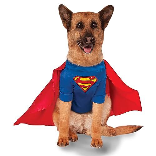 Superman Dog Fancy Dress Animal Superhero Halloween Pet Dogs Costume Outfit UK